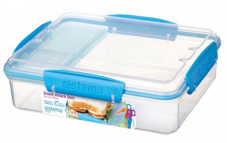 קופסת אוכל מלבנית מחולקת שקופה של חברת סיסטמה SISTEMA