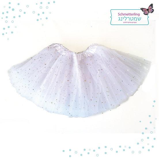 חצאית טוטו בצבע לבן עם נצנצים