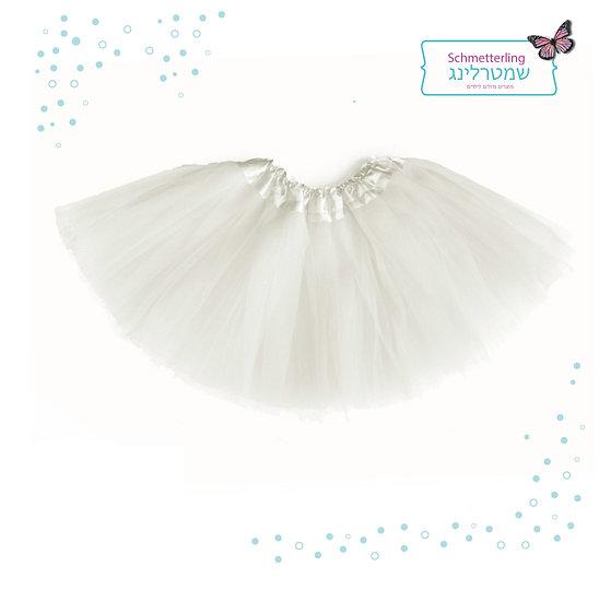 חצאית טוטו לנערות וילדות גדולות בצבע לבן