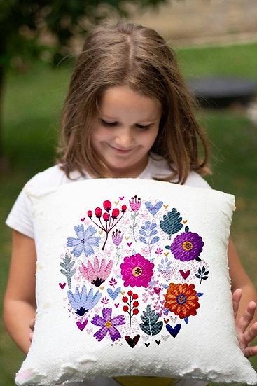 כרית פייטים מאויירת- פרחים