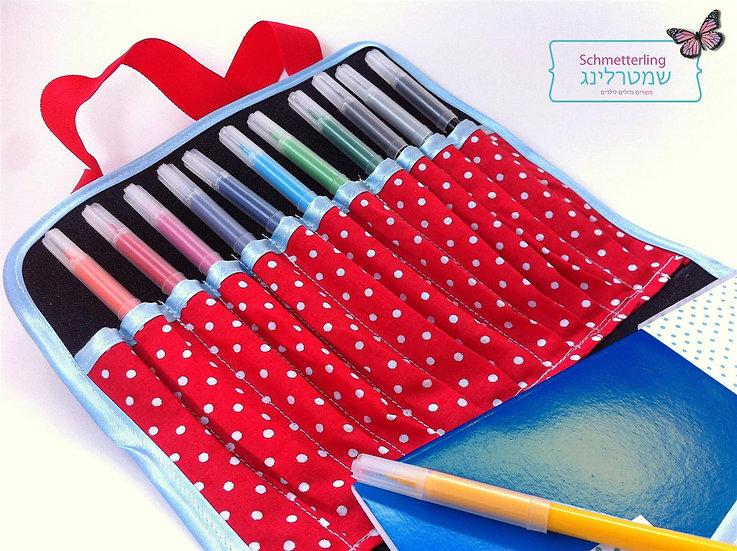 ערכת יצירה לילדות - תיק צבעים אדום עם נקודות