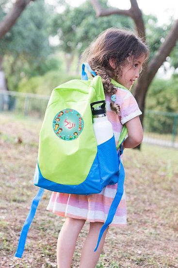 תיק מעוצב לילדים בהתאמה אישית בצבע ירוק כחול
