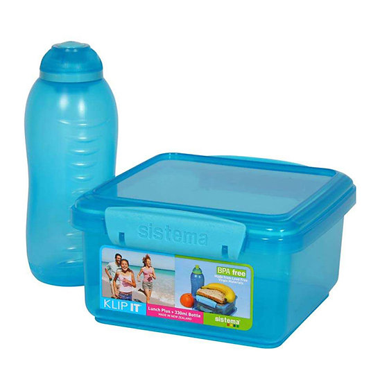 סט של קופסת אוכל ובקבוק בצבע כחול - סיסטמה