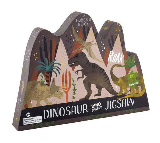 פאזל דינוזאורים מעוצב בקופסא מעוצבת עם עיטורים כסופים 80 חלקים