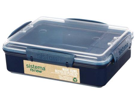קופסת אוכל מלבנית מחולקת  של חברת סיסטמה SISTEMA מפלסטיק ממוחזר