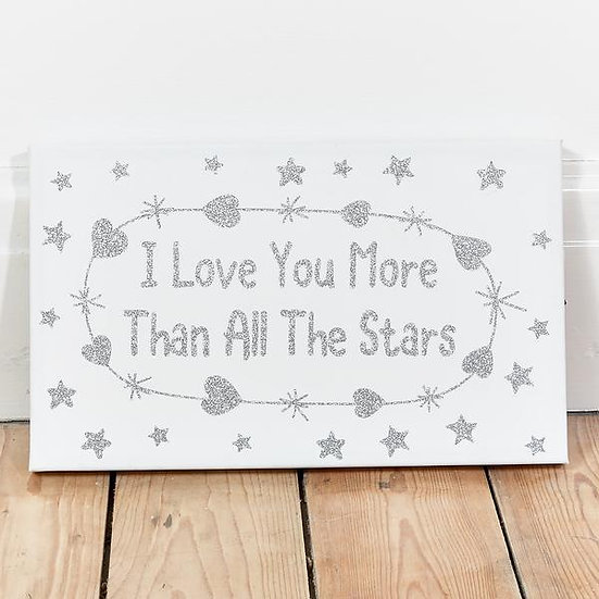 תמונת קנבס מאירה לבבות וכוכבים