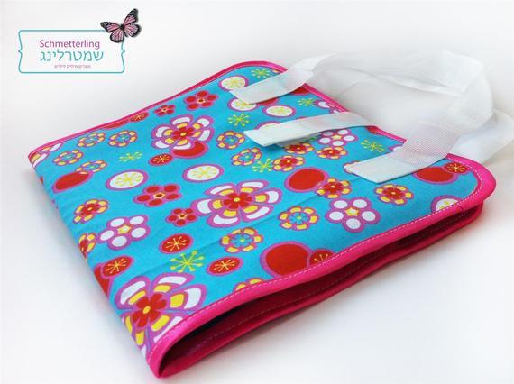 מתנה לילדה - ערכת יצירה תיק צבעים פרחוני בתורכיז