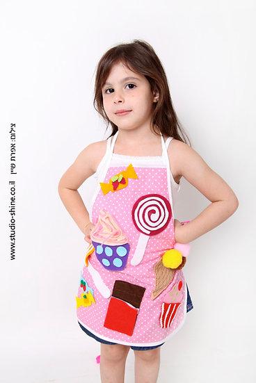 סינר בישול לילדים - אפליקציות ממתקים בעבודת יד