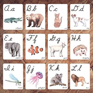 Animals Alphabet Cursive Square.png