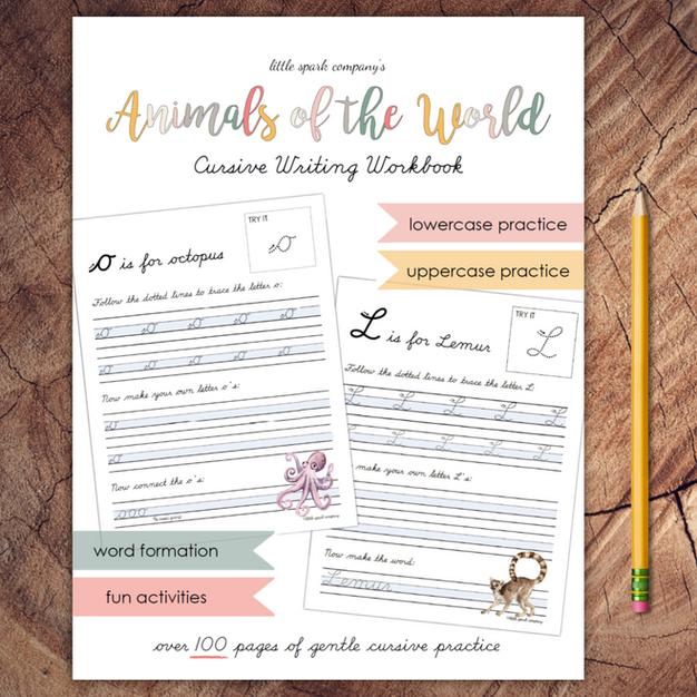 Animals of the World Cursive Workbook