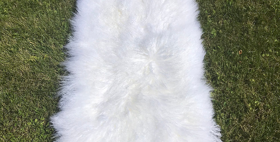 Bright White Tibetan Lamb Throw/Rug