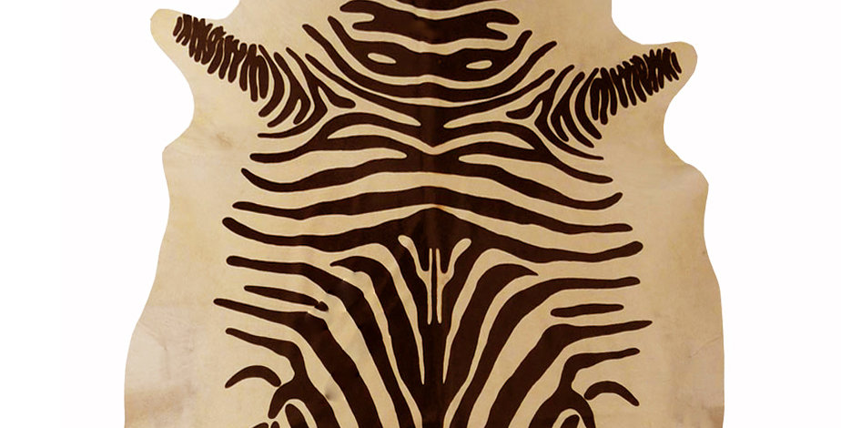 Chestnut Zebra on Tan Brazilian Cowhide