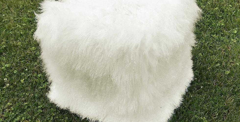 Country White Tibetan Lamb Pouf