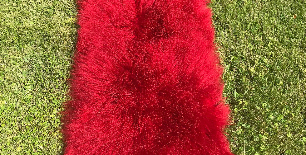 Primary Red Tibetan Lamb Throw/Rug