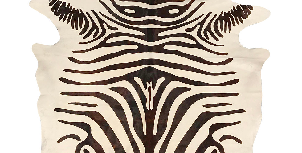 Chestnut Zebra on White Brazilian Cowhide
