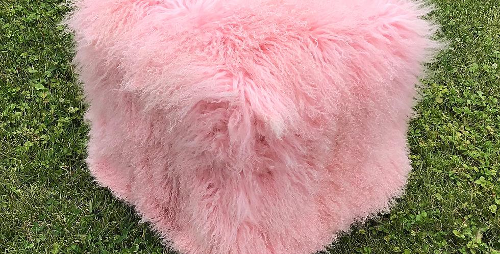 Pink Tibetan Lamb Pouf
