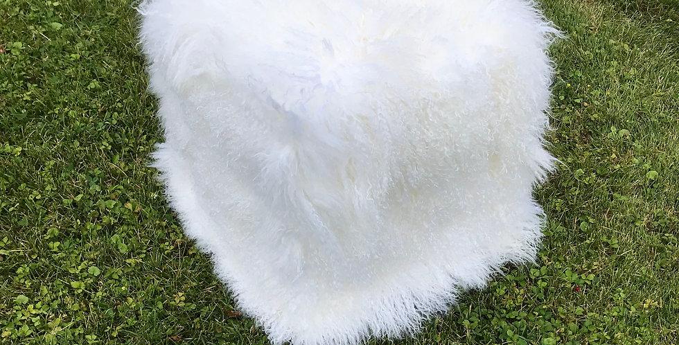 Bright White Tibetan Lamb Pouf