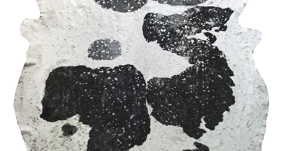 Silver Metallic on Black and White Brazilian Cowhide