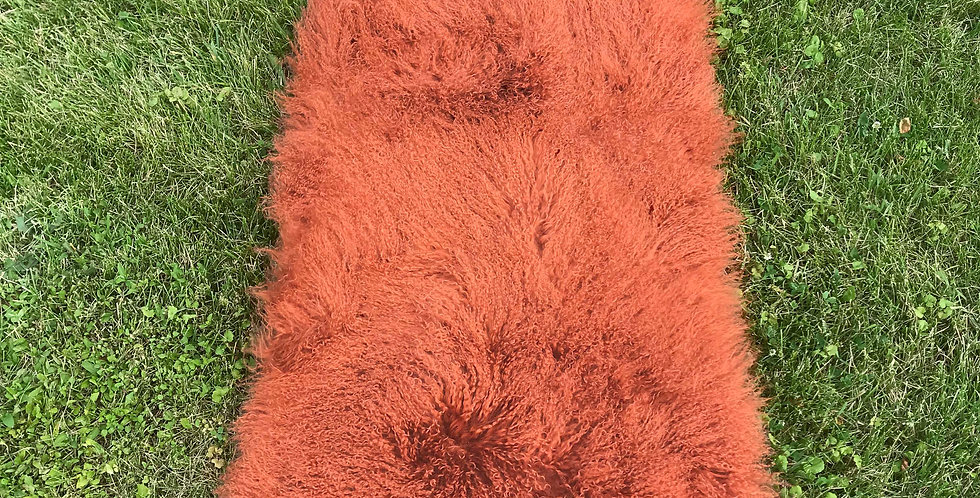Burnt Orange Tibetan Lamb Throw/Rug