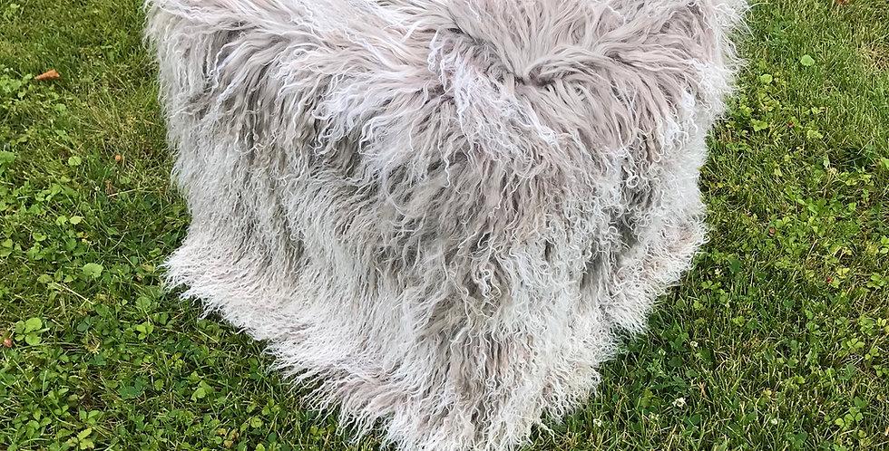 Gray Snowtop Tibetan Lamb Pouf