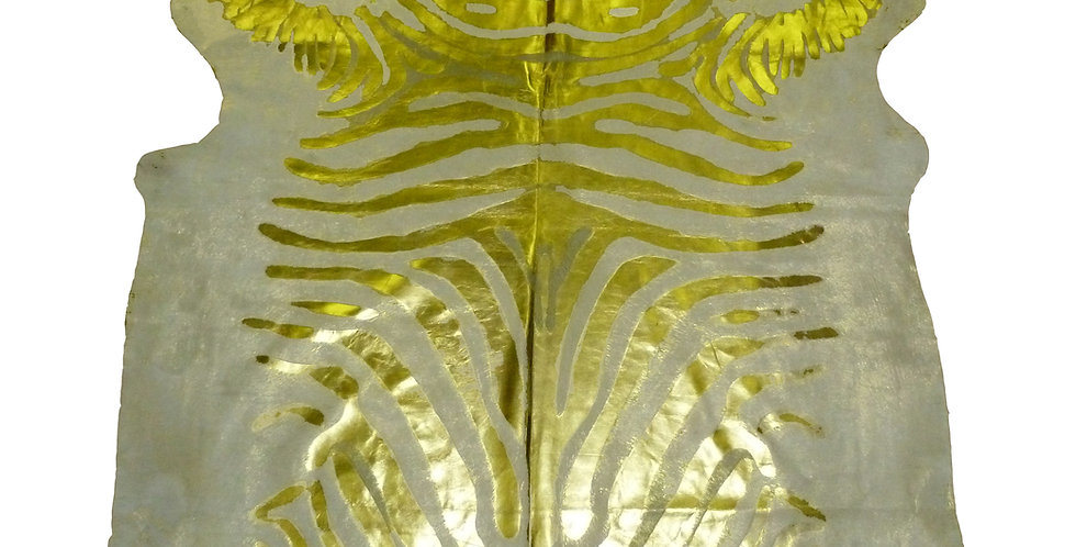 Gold Stripe Zebra Brazilian Cowhide
