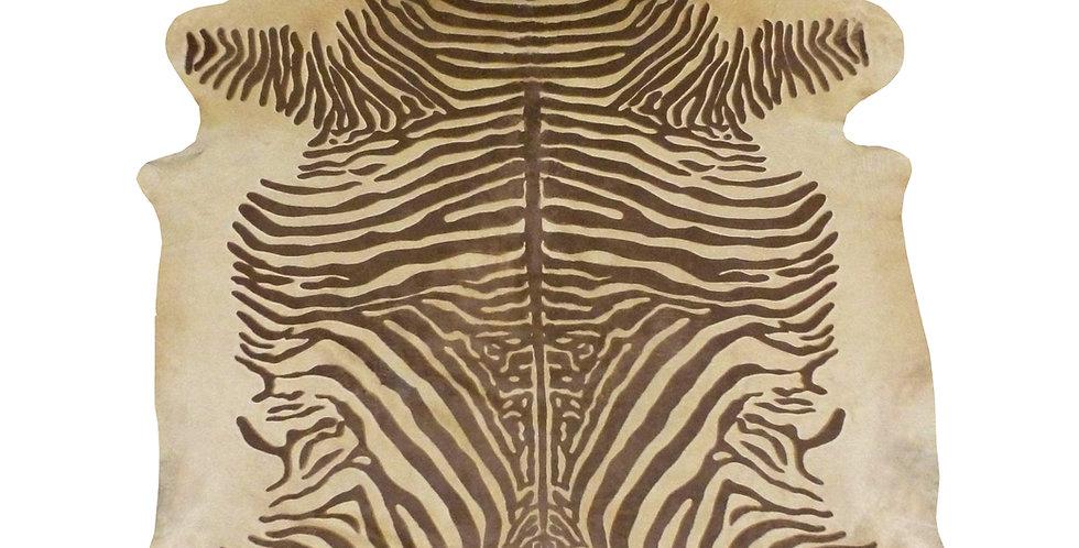 Rustic Etched Zebra Brazilian Cowhide