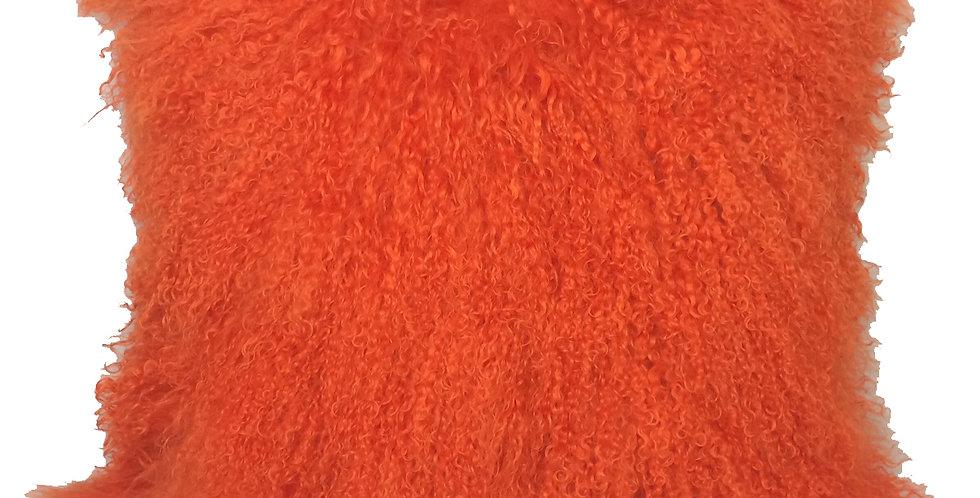 Bright Orange Tibetan Lamb Pillow $59