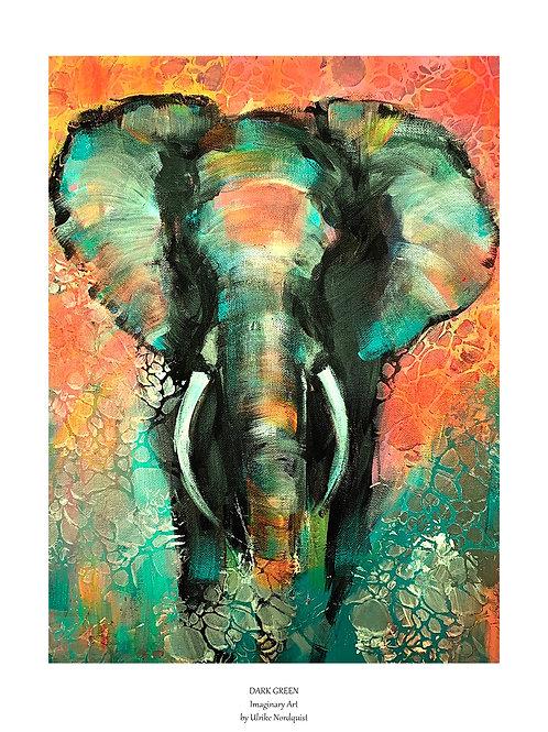 """Dark Green"", popart-elephant"