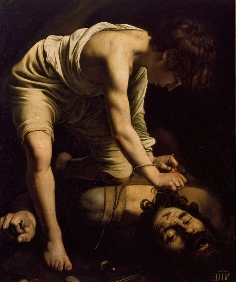 David with the Head of Goliath, by Caravaggio, c. 1600. From Museo del Prado, Madrid. He did a few of this subject. I think this is one of the better ones because of David's facial expression and hair.