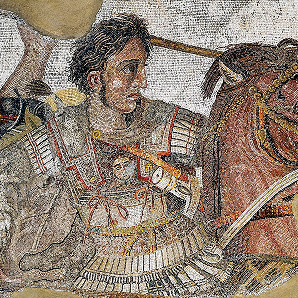 Alexander the Great fighting King Darius III of Persia in a mosaic at Naples National Archaeological Museum