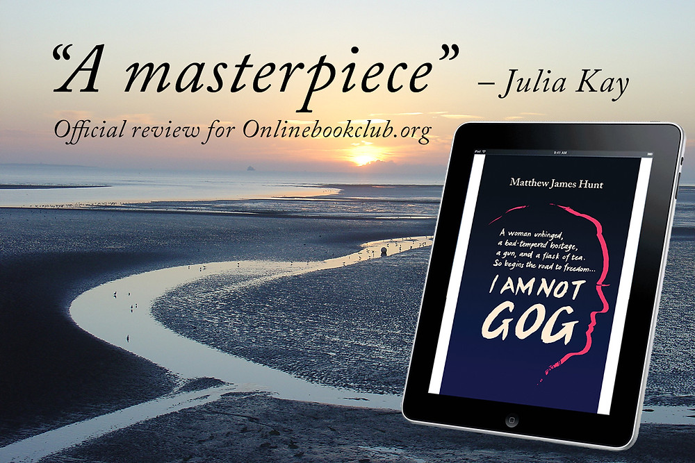 Cleethorpes beach and e-book edition of the novel I Am Not Gog by Matthew James Hunt, reviewed as 'a masterpiece' by Julia Kay of Onlinebookclub.org