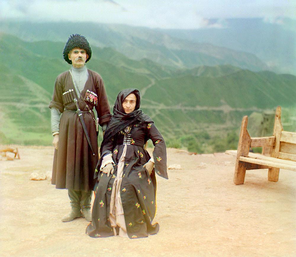 Image: 'Tipy Dagestana' (Dagestani Types), c1910, colour-separation glass negative by Sergeĭ Mikhaĭlovich Prokudin-Gorskiĭ, courtesy of The Library of Congress website.