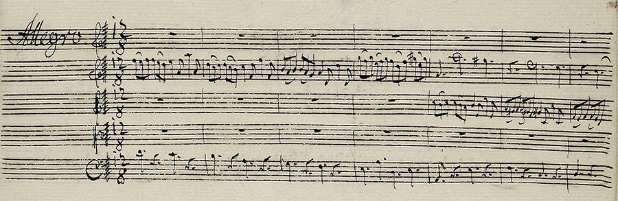 The music these notes represent inspired the Hinckley churchyard dance of Lydia in the novel I Am Not Gog. It is the opening bars of the fourth, Allegro section of Telemann's Flute Concerto in D Major (TWV 51:D1). Copyist: Johann Samuel Endler, ca. 1740. From the University and State Library of Darmstadt's online manuscript archive.