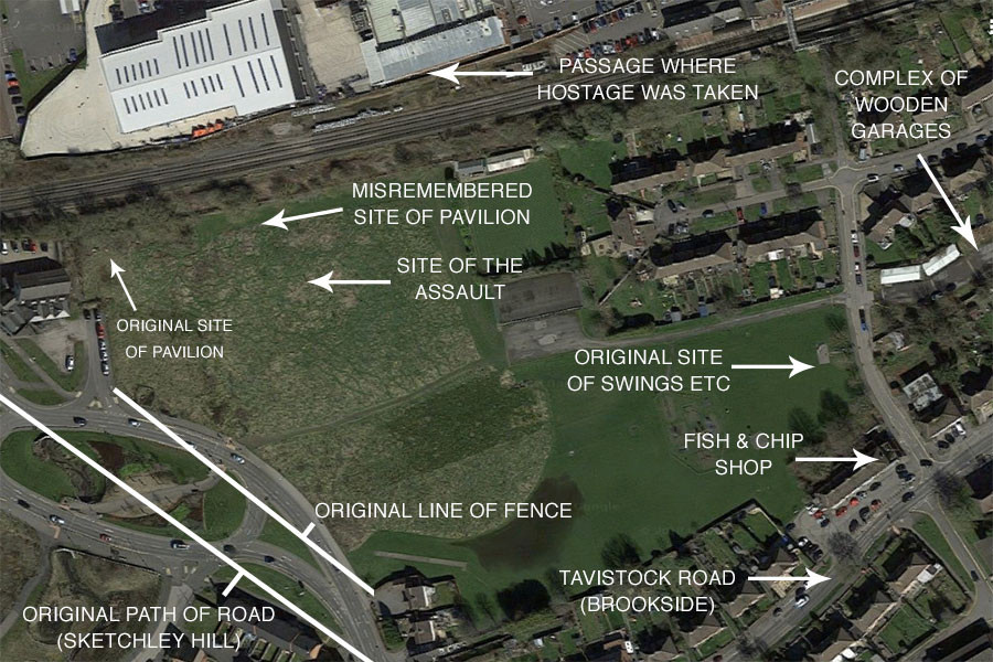 Google Maps satellite image of Tavistock Road (Brookside, Hinckley) recreation ground. Annotated by Matthew James Hunt