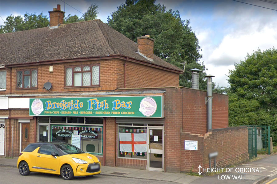 A Google Maps Street View image of Brookside Fish Bar, Hinckley. Annotated by Matthew James Hunt.