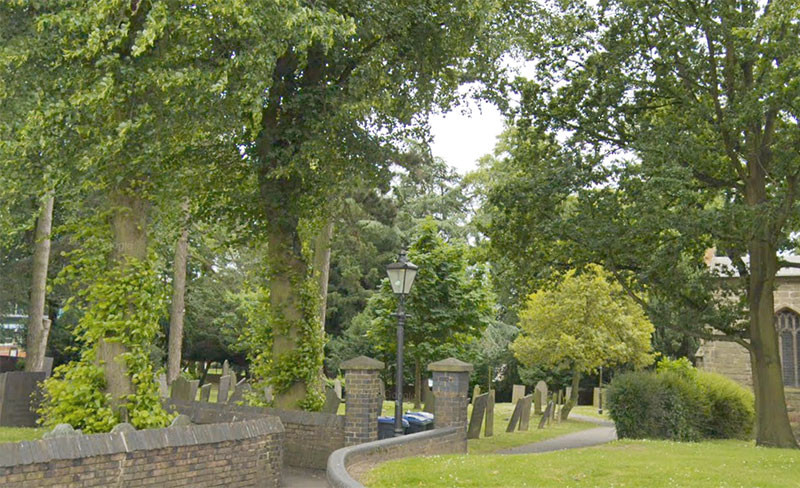 St Mary's churchyard, Hinckley. This place inspired the scene in St Simeon's churchyard in the novel I Am Not Gog, where Lydia does her little dance to the song of the robin. Image captured from Google Map's Street View.