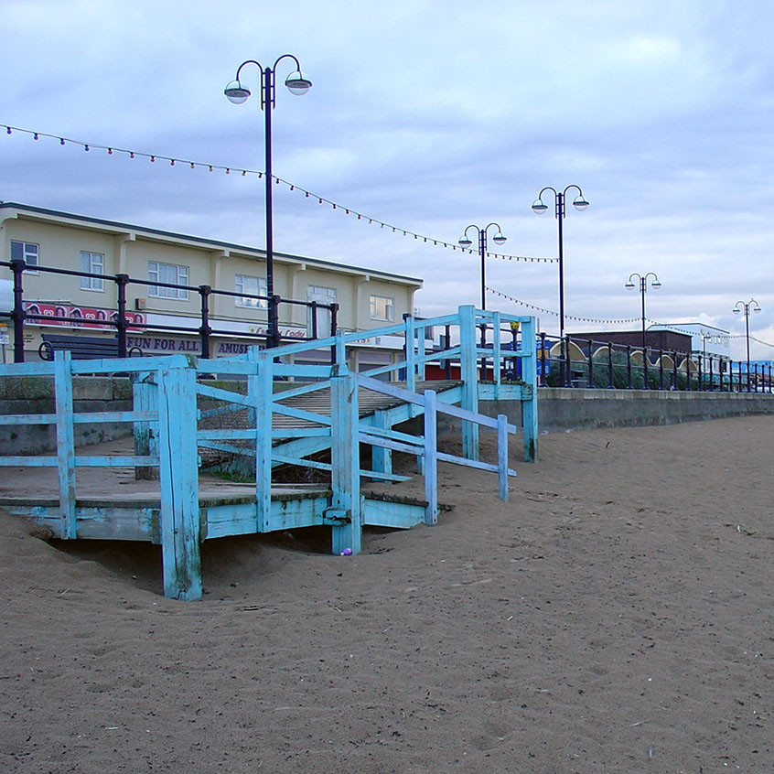 The blue ramp on Cleethorpes beach, beneath which Lydia sought refuge when she first arrived there.