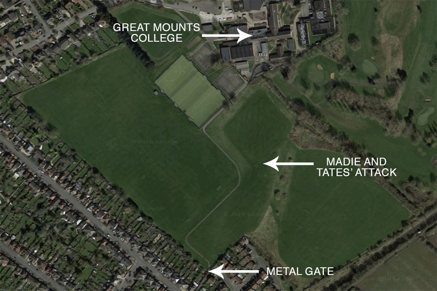 Google Maps satellite image of Great Mounts College (John Cleveland College, Hinckley) and playing fields. Annotated by Matthew James Hunt.