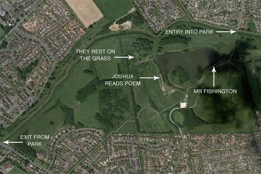 Google Maps satellite image of Cleethorpes Country Park. Annotated by Matthew James Hunt.