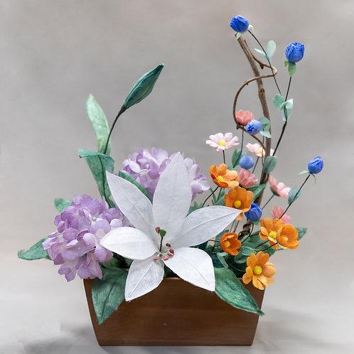 百合と紫陽花のアレンジメント