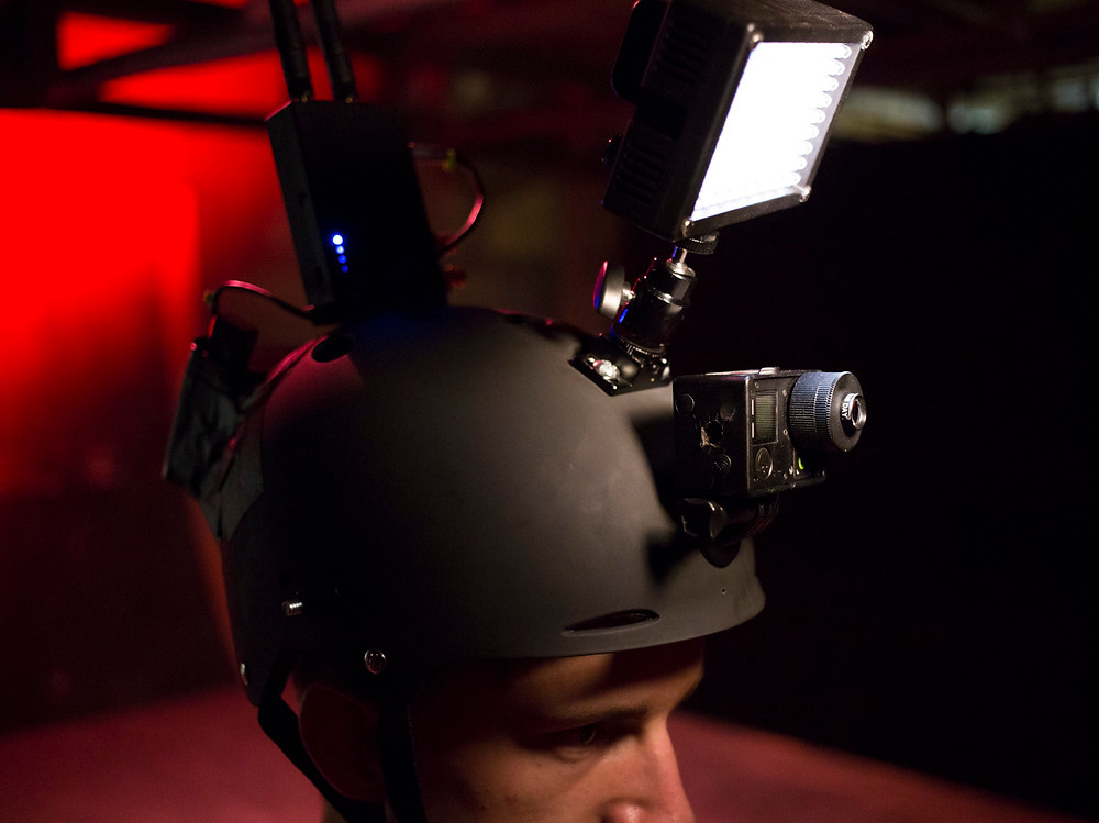 Custom Teradek wireless helmet