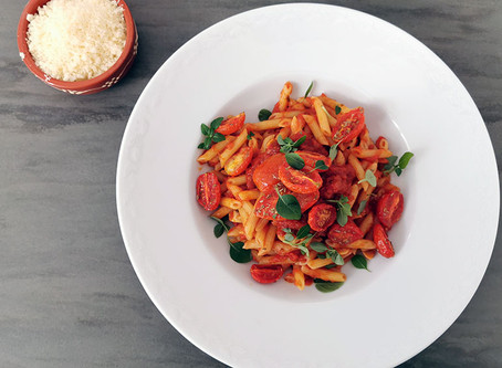 Die Leibspeise von A. - Penne all Arrabbiata mit geschmorten Tomaten