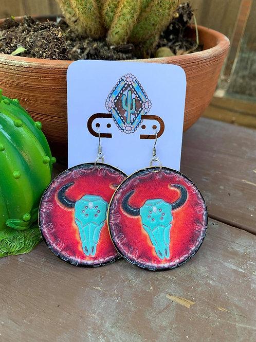 Bull Skull Leather Earrings