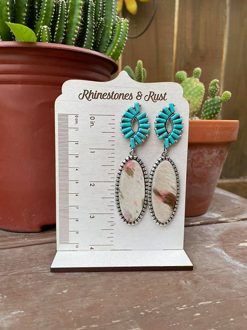 Cow Print Turquoise Studs