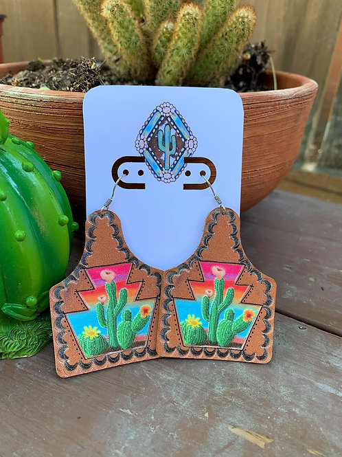 Leather Cattle Tag Earrings