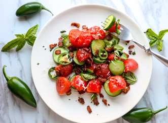 Crisp Watermelon Salad with Jalapeno & Bacon