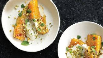 Roasted Pineapple Wedges with Honey and Pistachios