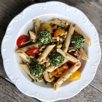 Pasta Salad with Basil-Coated Cashew Cheese Balls