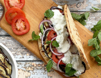 Grilled Eggplant Gyros with Fresh Tzatziki