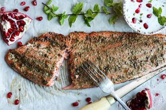 Spiced Baked Salmon - Pomegranate Raita
